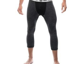 Mens Compression Mid Length Pants Charcoal