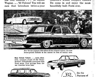 1962 Ford Newspaper Ad