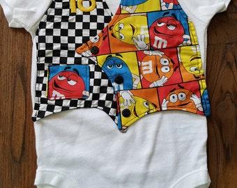 Kyle Busch Inspired Nascar Baby Bodysuit Vest with Bowtie, Baby Onesie, Baby Boy Clothing, Kyle Busch, Racing, M&M, Custom Baby Onesie