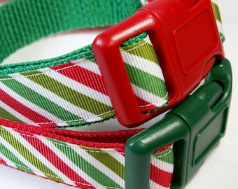 """Christmas-y Candy Cane Dog Collar - 1"""" (25mm) wide - Choice of collar color, style and size - Martingale Dog Collars or Quick Release Buckle"""