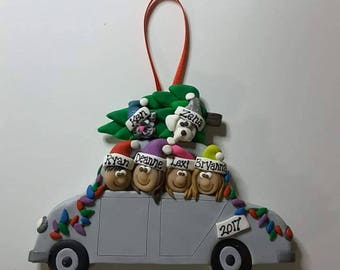 Personalized family car ornament Christmas ornament polymer clay