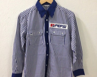 On Sale!! vintage pepsi shirt/ Deadstok pepsi button down / pepsi / large size
