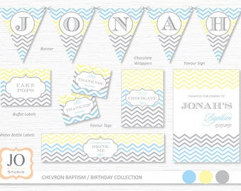 Printable Collection for a Chevron Baptism / Christening / Birthday Design / DIY Modern Printable Party & Birthday Decor - Digital File