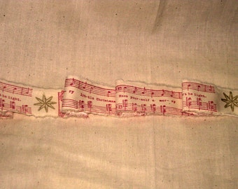 French Vintage Handmade Muslin Ribbon with Gold Star and Christmas Music Notes ECS