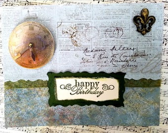 Handcrafted vintage birthday card
