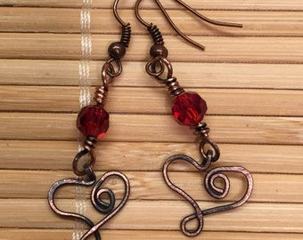 Antiqued Copper Heart Dangle Drop Earrings Wire Wrapped - Red Valentine Jewelry