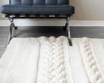 DIY Knitting PATTERN - Double Cable Throw Blanket (2012002); oversized knits, knit blanket, cable knit, knit rug, knitting patterns, knit