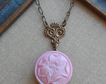 Vintage Button Necklace, Czech Glass, Pink Iris, Flower, Antique Brass, Timeless Trinkets