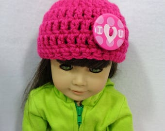 18 Inch Doll Hat, Hot Pink Valentine's Day Beanie for American Girl, Cap for Doll with I Love You Button, Gift for Little Girl