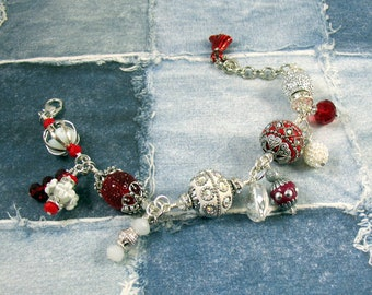 Red and White Fancy Bead Bracelet