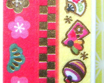 Japanese  Sticker Tape Strips Plum Blossoms Bamboo Pine Traditional Japanese New Year Symbols
