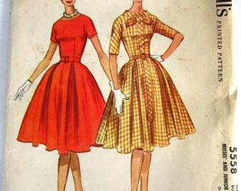Misses Dress with Fitted Bodice, Four Gore Flared and Pleated Skirt Size 12 Vintage 1960 McCalls Pattern 5558 Cut/Complete