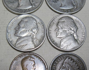 Six coin lot of obsolete dates (#E529c)