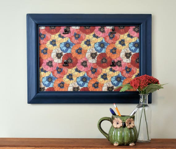 Blue Picture Frame with Floral Background and Metal Hinge Clips for ...