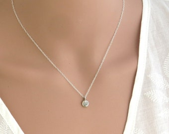 Tiny silver evil eye necklace , Lucky charm evil eye ,kabala jewelry , Jewish jewelry , bat mitzva gift ,good luck charm , hamsa necklace