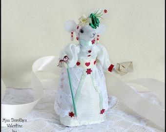 Soft Doll, Textile Art, Felt Mouse, Felt Mice, Faux Taxidermy, Sculpture Doll, Mouse Doll, Felted Animal, Romantic, Lovehearts, Hearts,