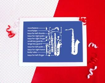 Blueprint art etsy blueprint saxophone print a4a3 saxophone diagram print gift for saxophonist malvernweather Images