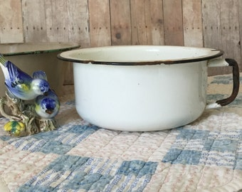 Cute Vintage Enamel Pot with Handle on Side - White with Black Trim