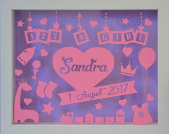 Its a Girl - Personalised White Shadow Box Frame - Newborn Gift - Various Colours Available