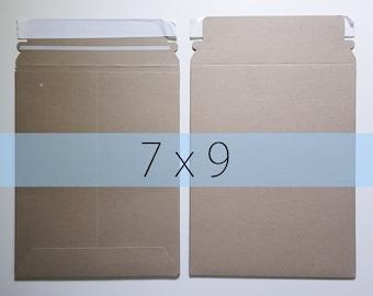 50 7x9 Inch Rigid Stay Flat Kraft Brown Rigid Mailers Self Sealing Photo Stickers Decals Shipping Cardboard Envelope Bag