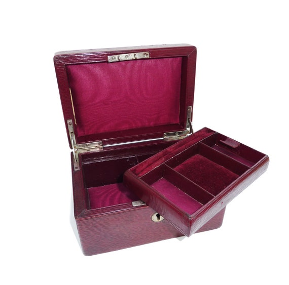 Gorgeous Burgundy Leather 1920s Jewelry Box