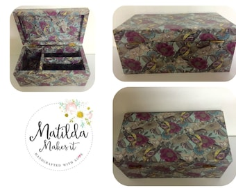 A Wooden Trinket Box Decoupaged in a 'Beautiful Bird' Design
