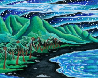 Hawaiian Hodgepodge,2008, Prismacolor (Greeting card)