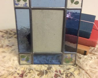 Shabby Chic Vintage Blue Stain Glass  Metal Photo Frame with Floral Motifs Nautical Beach  Cottage Nursery