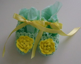 Crocheted Green and Yellow Booties