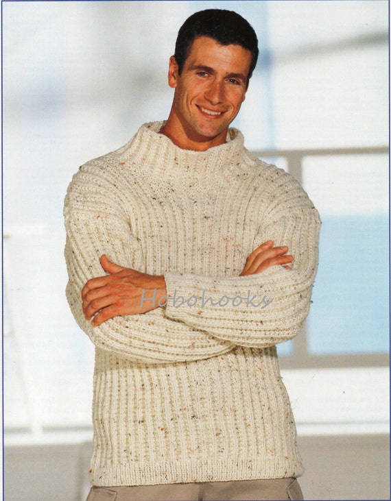Mens Knitting Pattern Mens Chunky Ribbed Sweater Mens