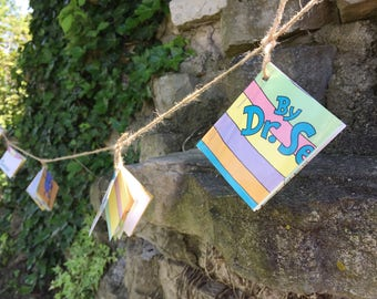Oh The Places You'll Go-Mini Book Garland-8ft-Graduation Decor-Dr Seuss-Childrens Bunting-Wedding Decor-Birthday Decor-Book Garland
