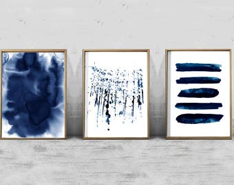 Set of 3 Abstract Watercolor Prints Indigo Blue Navy Wall art Geometric Prints Splatter Minimalist art Scandinavian Art Nordic Prints Boho