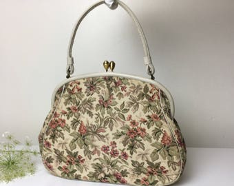 Late 50's Early 60's Floral Tapestry Handbag