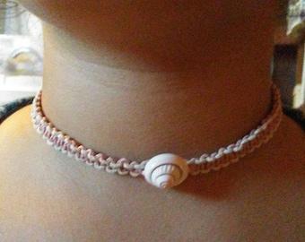 Glow in the Dark Pink Hemp Choker for girls - Kids Natural Jewelry - Seashell Necklace for Her - Braided Organic Gifts - Hemp Woman Choker