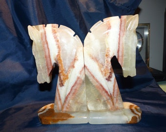 Marble Horse Head Bookends - Hecho en Mexico - Onyx Carved - Excellent -