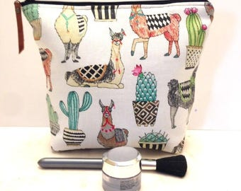 Llama Bag, Llama Makeup  Bag, Large Makeup Bag, Llama Zipper Bag, Cosmetic  Bag, Alpaca,  Llama Gifts, Girlfriend Gift,   Makeup Case