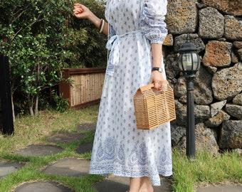 Cotton Bohemian long dress / flare wrap dress / romantic long dress / flared dress / long dress / boho dress / bohemian dress / wrap dress