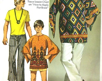 Vintage 70s Simplicity 9179 Mens Dashiki Tunic or Coverup Plus Hip Hugger Pants Sewing Pattern
