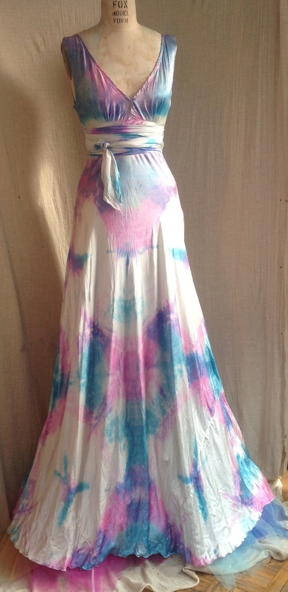 Vneck wedding dress boho bridal island wedding dress tie dye