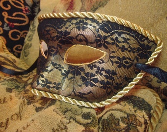 Bohemian Venetian mask. Black Lace with gold silk cord. Ideal for Carnival or gift.