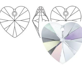 Swarovski 6228 Crystal Heart Pendant 18mm Crystal AB 1PC 3PC