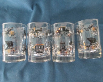 Vintage Horse And Buggy Libbey Glasses Set 4 In Gold Black And White Vintage Americana Collectible Glassware Man Cave Barware