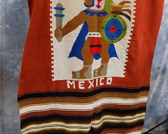 88 x 48 Southwestern Serape Vintage Indian Mexican Blanket Rug Satillo Decor d, Home Decor, Southwest Decor, Vintage Decor