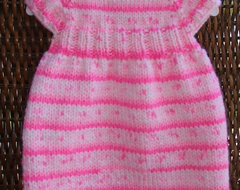 Pink knit dress, baby girl dress, party dress, newborn knits