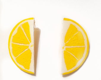 MADE TO ORDER ...Hand Painted Lemon Slice Earrings. Handmade
