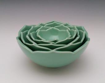 Nesting Ceramic Bowls Eight Nesting Lotus Bowls Serving