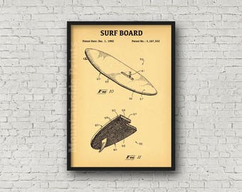 Blueprint art etsy surf board patent print surf board poster blueprint art boating gift blueprint malvernweather Image collections