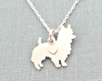 Australian Terrier Dog Necklace, Sterling Silver Personalize Pendant, Breed Silhouette Charm Rescue Shelter, Memorial Gift