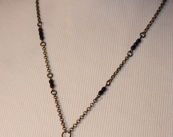 Vintage Key Necklace with Wheat Penny 1947 and Blue/brown Beads