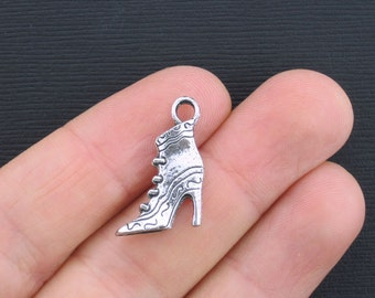 6 Boot Charms Antique Silver Tone High Heeled Boot 2 Sided - SC3369